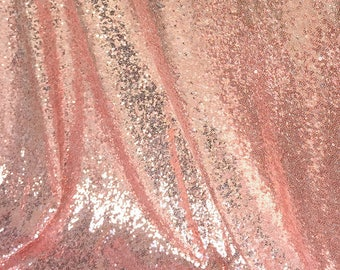Rose Gold Sequin Fabric, Glitters Sequins Fabric for Dress, Rose Gold Full Sequin on Mesh Fabric, Rose Gold Sequins Fabric by the Yard