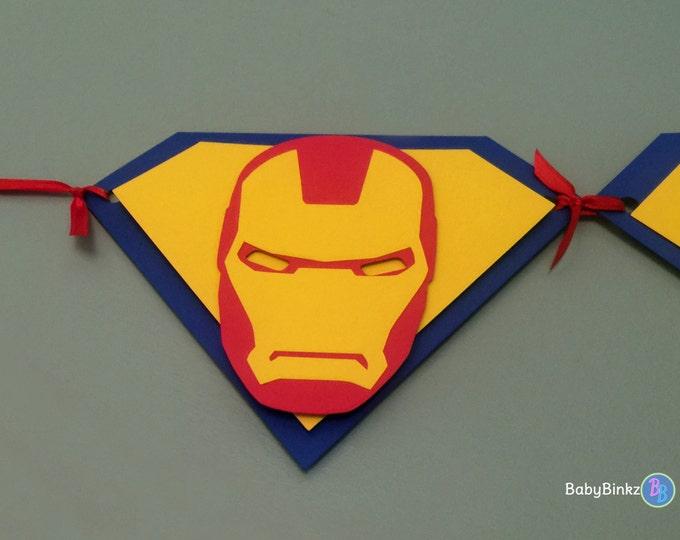 Custom Super Hero Pennant Banner - Superman Captain America Batman Happy Birthday comic die cut custom superhero marvel inspired