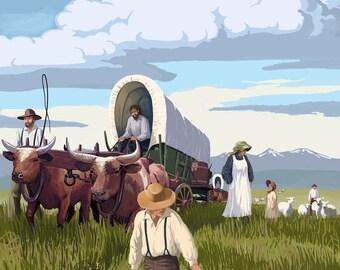 The Oregon Trail - Wagon Scene - Lantern Press Artwork (Art Print - Multiple Sizes Available)