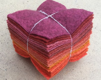 Felt Tower, 24 pieces of Hand Dyed Wool and Viscose Felt, Red, Orange Selection