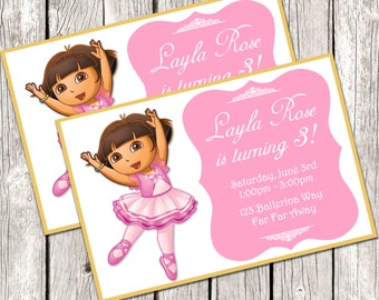 Dora Ballerina Invitation - Dora the Explorer Birthday Party - DIY Printable