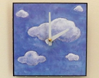 Cloud Clock, Sky, Blue, White, Wall Clock, Functional Art, Home Decor, Contemporary Clock, Housewares