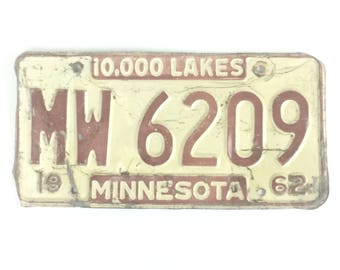 Vintage License Plate - Distressed Minnesota Plate - Red and White - Minnesota Decor - ManCave Decor - Rustic Home Decor - Car Lover Gift