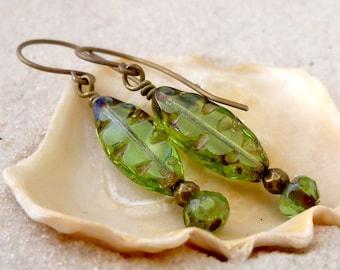 Hypoallergenic Earrings - Boho Jewelry - Green Earrings - Bead Earrings - Titanium Earrings - Dangle Earrings - Earrings for Sensitive Ears