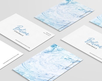 Premade business card, marble business card, marble card template, creative calling card, marble name card, blue marble card, business card