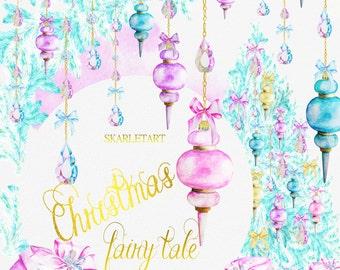 Christmas Clipart Watercolor Christmas Clip Art Xmas MintPink Purple Gold Handpainted Ornaments Fashion Blog Girls Blog Feminine Planner DIY