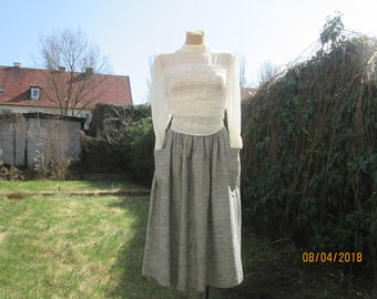 Woolen Skirt / Wool Skirt Pockets / Grey / Gray Wool Skirt / Wool Skirt Pockets / Size EUR38 / UK10