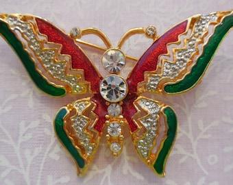 Vintage Butterfly Brooch Pin Crystal Rhinestones Emerald Siam Crystal Enamel Gold Tone