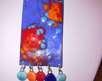 Chunky necklace in enamels on copper, blue, orange and red and multicolored ceramic pendants.