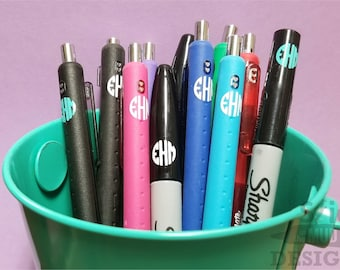 Custom Monogram Decals for Pens, Markers and Pencils! - Set of 15!