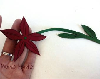 Daisy Flower Leather Bookmark. Bookmarks of flower in skin. Reading point. Free National Shipping