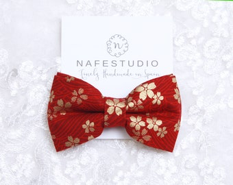 Mens Bow Tie Pre-tied Bow Tie For Men - Dark Red Bow Tie - Mens Gift Wedding Gifts Rustic Bow Tie Boho Wedding Groom Bow Tie Floral Bowtie