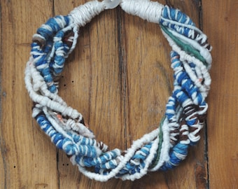 Art Yarn Necklace, Handspun, lightweight, Spring