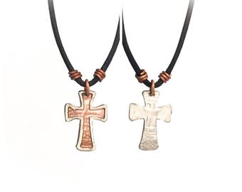 Cross Necklace. Etched Coin Necklace. Cross coin. Cross charm. Christian necklace. Christian charm. Christian jewelry