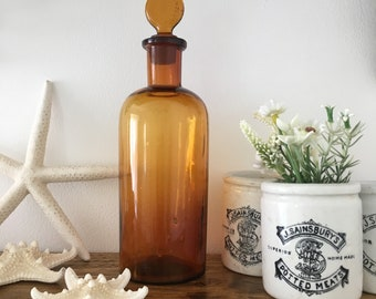 Antique French Apothecary Bottle, Amber Glass, Vintage French Bottle, Collectible, Decorative, French Home Decor, Bathroom Decor
