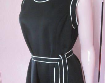"1960s Sleeveless Black Knit Dress by ""Lorac Original,"" Size L"
