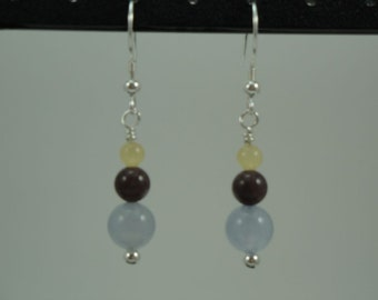 Natural Blue Chalcedony, Purple Aventurine, Calcite Drop Earrings Item #429