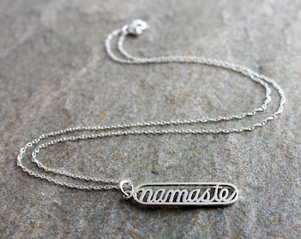 Sterling Silver Namaste Necklace, Namaste Pendant, Yoga Necklace, Yoga Pendant, Yoga Jewellery, Yoga Jewelry, Meditation Necklace