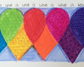 LOVE is LOVE Hearts Digital Giclée Print