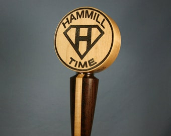 Custom Wood Beer Tap Handle Woodburned by Hand with Your Beer Logo - Made to Order