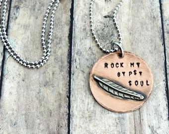 Rock My Gypsy Soul Necklace - Boho Jewelry - Feather Jewelry - Hippie Necklace - Free Spirit - Boho Necklace - Bohemian Jewelry