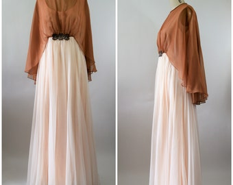 Vintage Emma Domb Chiffon Dress with Cape Beige and Brown with Beading at Waist Long and Flowy Size Large