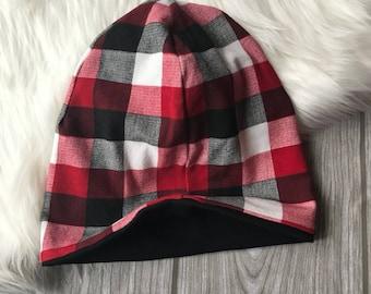 Beanie   Slouchy hat   reversible beanie  baby beanie   toddler beanie   handmade hat   plaid beanie