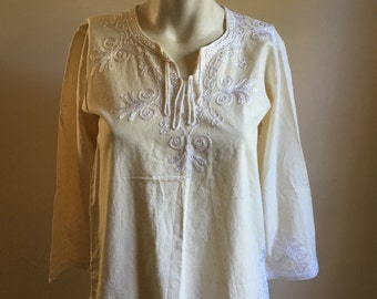 70s Cream Cotton Tunic Top • Boho Top