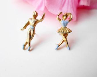 Dancing Ballerinas Brooch Pin Set Vintage Nemo NOS The Dancers Boy & Girl Man Woman Gold Metal Pins Set