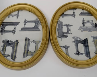 Antique Sewing Machine Oval Framed Prints (2 avail.)