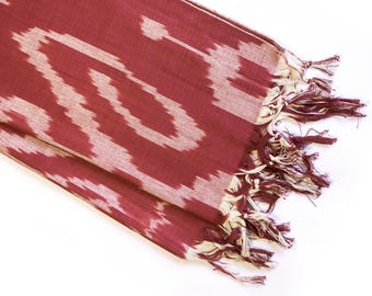Marsala and beige ikat scarf // hand made hand dyed ikat cotton scarf