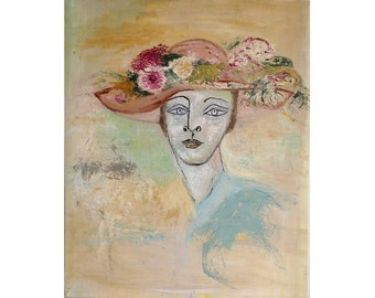 Original Portrait Oil Painting Woman-Large wall art-canvas-Impressionist-Flowers Original Painting-Picasso-Figurative art FREE SHIPPING