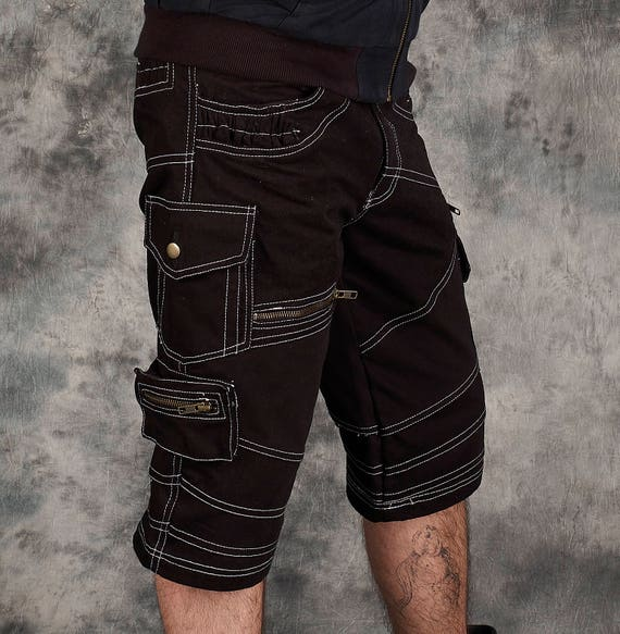 Baggy Cargo Shorts~Men Goa Pants~Tribal Clothing~Steampunk Clothing~Gothic~Festival Clothing~Psy Wear~Psychedelic Clothing~Psy Trance Goa ATwvd4UJbZ