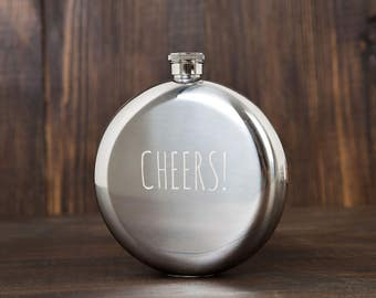 Flask for women | Bridesmaid gifts | Bridesmaid flask | Engraved flask | Cheers | Round flask | Gift for woman | Wedding flasks | 8 oz
