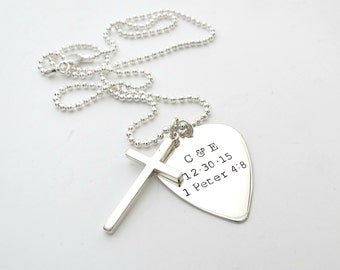 Mens Personalized Cross Necklace - Custom Guitar Pick - Godfather - Couples - Son - Daughter - Dad - Grandpa - Engraved - Anniversary