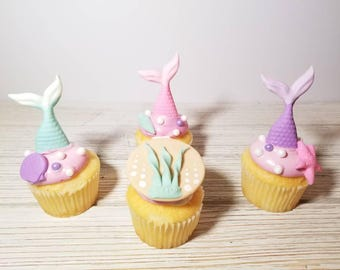Mermaid cupcake toppers, fondant mermaid cupcake toppers, mermaid birthday, mermaid party