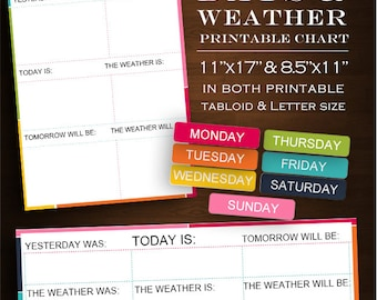 Weather Chart - Weekly Weather and Days of the Week Chart Rainbow Printable Editable Download - Classroom Homeschool Class Weather Weekly