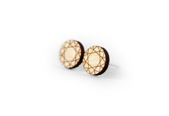 Wooden diamond studs - round earrings - tiny posts - mini jewelry - graphic jewellery - lasercut maple wood - hypoallergenic surgical steel