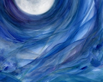 blue moon art: cobalt, indigo, purple & white metal print of acrylic full moon painting by Kauai Hawaii fine artist Donia Lilly - Moontides