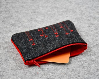 Card Wallet, Zipper Pouch, Mother Gift, Felt Pouch, Business Card Holder, Metro Card Case, Small Sewing Kit Bag, Felt Wallet, Mother's Day