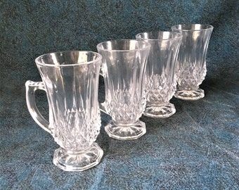 Vintage Cristal D'Arques Longchamp Irish Coffee Mugs, Set of 4