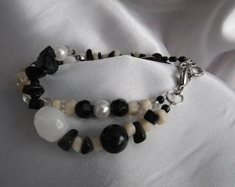 Double Strand, Black and White Bracelet