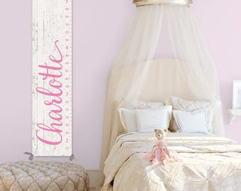 Growth Chart Ruler for Girl - Personalized Canvas Growth Chart, Wood Image on Canvas, Pink Growth Chart - GC0126P