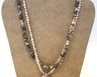 Simulated Pink Quartz and Fresh Water Pearls Necklace