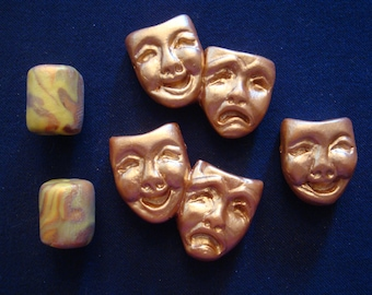 Lot of 3 Theater Mask Bead/Pendants and 2 Large Swirled Barrel Beads