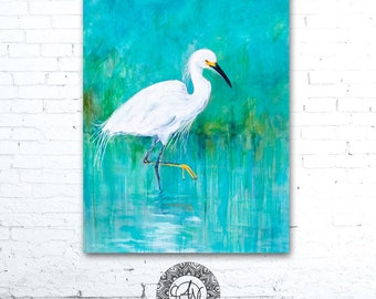 Egret Painting, Bird Art Print, Egret Print, Turquoise Painting, Snowy Egret, Bird Print, Bird Artwork, Wildlife Art, Wildlife Print