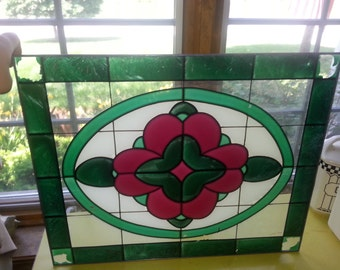 LAST CHANCE SALE!! Antique Stained Glass Green and Red Flower Painted Window Panel Gorgeous!