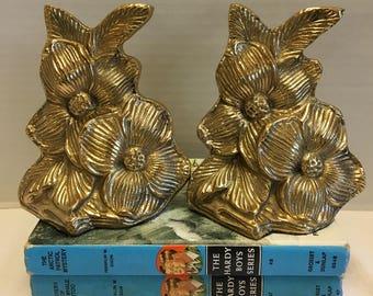 Vintage Set Brass Dogwood Floral Bookends Hampton Brass 1965