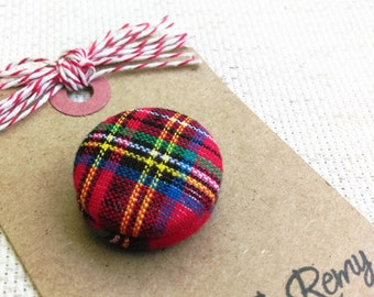 Tartan Plaid, Needle Minder, Royal Stewart - 2 Piece Reversible Scout and Remy,  For Cross Stitch, Sewing, Embroidery