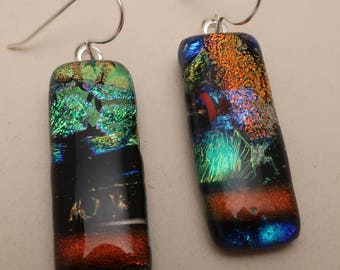 Burnt orange green multi-layer long  fused dichroic glass earrings sterling silver ear wires dangle drop